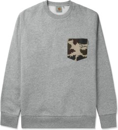 Carhartt WORK IN PROGRESS Grey Heather/Camo Eaton Pocket Crewneck Sweater Picutre