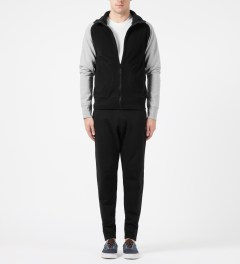 Reigning Champ Black/Heather Grey RC-3267 Polartec Stand Collar Zip Front Jacket Model Picture