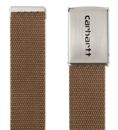 Carhartt WORK IN PROGRESS Hamilton Brown Chrome Clip Belt Model Picutre