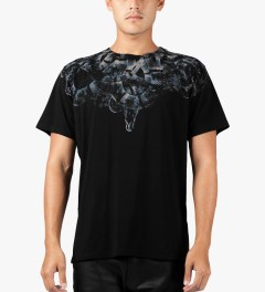Marcelo Burlon Black/Blue Snake Print T-Shirt Model Picutre