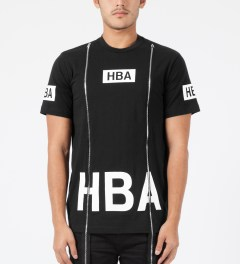 Hood By Air. Black Box Logo S/S Double Zip T-Shirt Model Picture