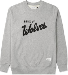 Raised by Wolves Heather Grey Varsity Crewneck Sweater Picture