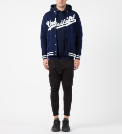 Undefeated Navy Script Varsity Jacket Model Picture