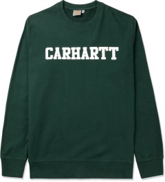 Carhartt WORK IN PROGRESS Bottle Green/White College Crewneck Sweater Picutre