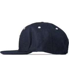 Wood Wood Dark Navy Logo Wool Cap Model Picture