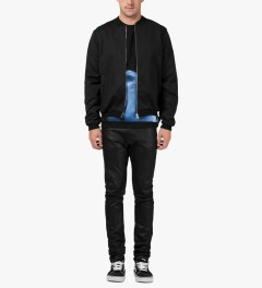 Libertine-Libertine Black/Blue Print Brake Photo Sweater Model Picutre