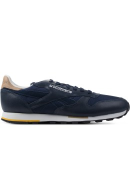 Reebok Indigo/Black/Walnut/Paper White CL Leather Casual Sneakers Picture