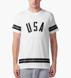 Stampd White USA Stripe T-Shirt Model Picture