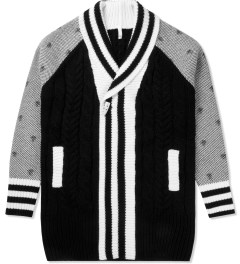 Munsoo Kwon Black/White Combo Keyholes Cable Long Shawl Cardigan Picture