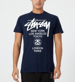 Stussy Navy World Tour T-Shirt Model Picture