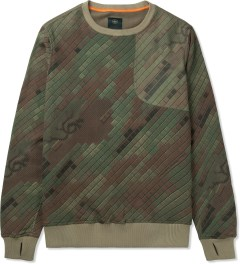 maharishi Olive Woodland Disruptive Asym Vent Crewneck Sweater Picture