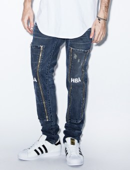 Hood By Air. Blue Hyper 3D Wash Zip Off Graphic Jeans Picture