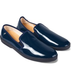 Rivieras Blue Vinyl Slip-On Shoes Model Picutre