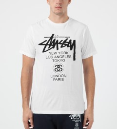 Stussy White World Tour T-Shirt Model Picture