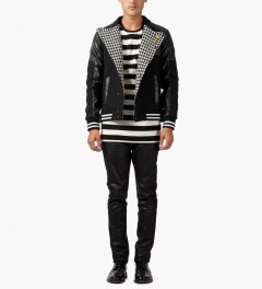 Munsoo Kwon Black/White Asymmetric Dotted Line Varsity Jacket Model Picture