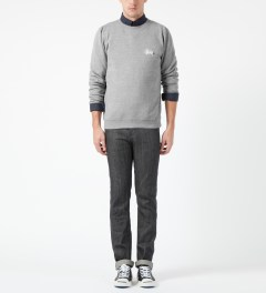 Stussy Heather Grey Basic Logo Crewneck Sweater Model Picture