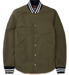 Mark McNairy Army Green Shirt Tail Varsity Jacket Picture