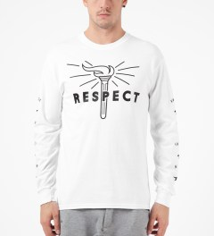 Mott Street Cycles White Respect L/S T-Shirt Model Picutre