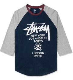 Stussy Dark Navy Baseball World Tour ¾ Raglan Picture