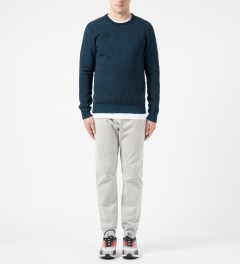 Reigning Champ Navy/Pacific RC-3207-16 Tiger Fleece L/S Crewneck Sweater Model Picture
