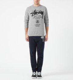 Stussy Heather Grey World Tour Crewneck Sweater Model Picture