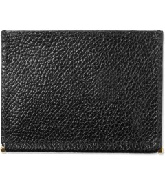 THOM BROWNE Black Grained Leather Card Holder Model Picture