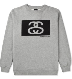 Stussy Heather Grey S/S Tribe Box Crew Sweater Picutre