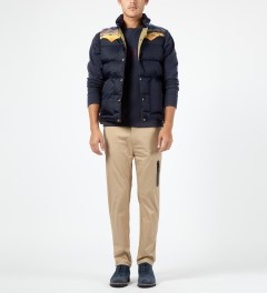 Penfield Navy Mojave Yoke Down Vest Model Picture