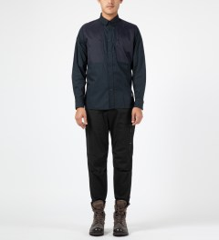 Penfield Navy Lumsden Collarless Overshirt Model Picture