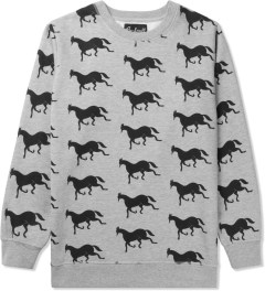 Rockwell by Parra Heather Grey Downhill Horse Crewneck Sweater Picutre