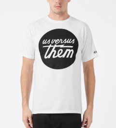Us Versus Them White Perfect Circle T-Shirt Model Picture