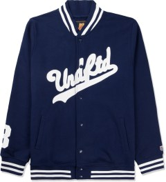 Undefeated Navy Script Varsity Jacket Picture