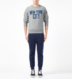 Medicom Toy Heather Grey New York City Crewneck Sweater Model Picture