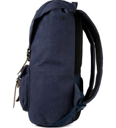 Herschel Supply Co. Indigo Denim/Navy Coated Cotton Canvas Little America Backpack Model Picture