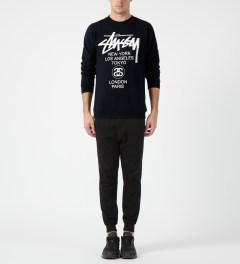 Stussy Navy World Tour Crewneck Sweater Model Picture