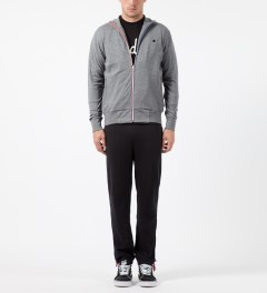 Undefeated Heather Grey Double Knit Full Zip Jacket Model Picture