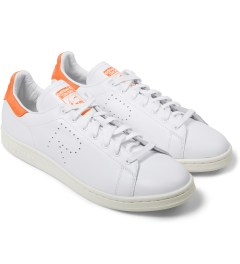 adidas Originals Raf Simons x Adidas Orange/White Stan Smith Sneakers Model Picture