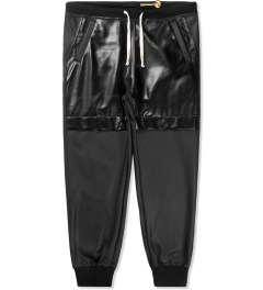 Munsoo Kwon Black Coated Leather Sweatpants Picture