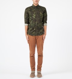 Stussy Brown Lux Flower L/S Shirt Model Picture