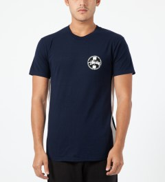 Stussy Navy Worldwide Dot T-Shirt Model Picture