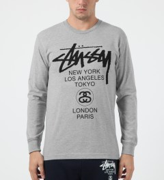 Stussy Heather Grey World Tour L/S T-Shirt Model Picture