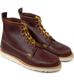 Yuketen Wax Red Maine Guide 6 Eye Boots Model Picture