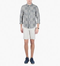 Head Porter Plus Off White Patchwork L/S Shirt Model Picture