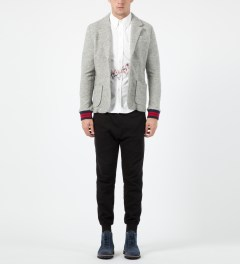 Band of Outsiders Light Grey Felted Fleece Schoolboy Blazer Model Picture