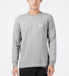 Stussy Heather Grey Basic Logo L/S T-Shirt Model Picture