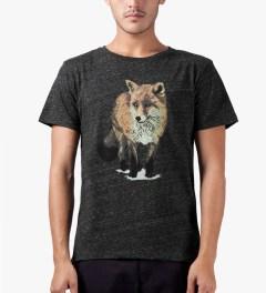 Maison Kitsune Dark Grey Walking Fox Print R-neck T-Shirt Model Picutre