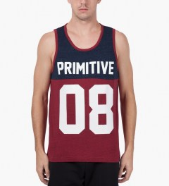 Primitive Red Heather Division Tank Top Model Picutre