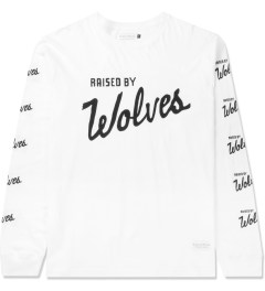 Raised by Wolves White Varsity Logo L/S T-Shirt Picture