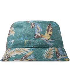 BWGH Green Floral Print Bob Bucket Hat Model Picutre