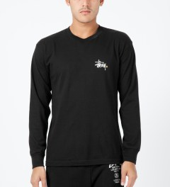 Stussy Black Basic Logo L/S T-Shirt Model Picture